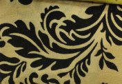 DAMASK FLOCKED TAFFETA FABRIC 150cm /150cm WIDE BY THE YARD GOLD/BLACK