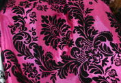 DAMASK FLOCKED TAFFETA FABRIC 150cm /150cm WIDE BY THE YARD FUCHSIA/BLACK