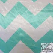 Mint Chevron Satin Charmeuse 150cm Wide Fabric By The Yard