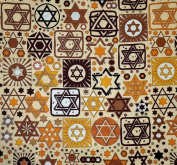 Tossed Stars Jewish Fabric - Beige