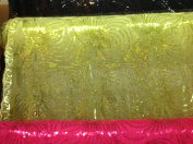 Lace-sequin Skirt Fabric, Colour Lime, Width 130cm - 140cm Sold By the Yard