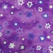 Jubilant Stars Jewish Fabric - Purple
