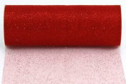 Kel-Toy Glitter Tulle Fabric, 15cm by 10-Yard, Red
