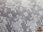 Satin Floral Jacquard Fabric SILVER / 150cm Wide / Sold by the yard