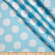 Charmeuse Satin Large Polka Dots Baby Blue/White Fabric