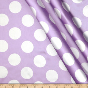 Charmeuse Satin Large Polka Dots Lavender/White Fabric