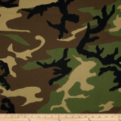Poly/Cotton Twill Woodland Camouflage Brown/Green/Black Fabric