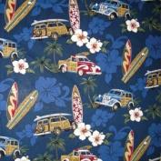 Hawaiian Fabric - Surfboard and Woody Car Print