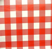 RED GINGHAM SQUARE cheque PVC OILCLOTH VINYL FABRIC KITCHEN CAFE BAR TABLE WIPECLEAN PICTURE TABLECLOTH PER METRE 100CM X 135 CM BRAND NEW CUT TO ORDER