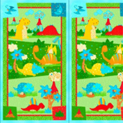 60cm X 110cm Cotton Panel - Classic Jurassic Craft Panel Multi Dinosaur Cotton Fabric Panel