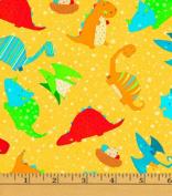 Cotton Classic Jurassic Dino Toss Yellow Dinosaurs Kids Cotton Fabric Print by the Yard