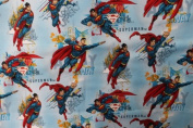 Superman Blue Background Print Cotton Fabric 110cm /110cm Width By The Yard