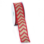 (Fushia) Wired Chevron Burlap Ribbon-100% Jute 3.8cm X 10 Yards