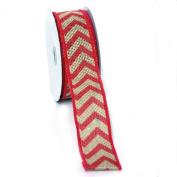 (Fushia) Wired Chevron Burlap Ribbon-100% Jute 3.8cm X 10 Yards