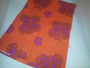 Unstitched Fabric Orange with Purple Flower & Butterfly Design 100cm x 90cm