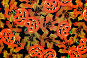 Joann's Pumpkins/autumn Leaves Fabric,cotton,black,pumpkins,leaves