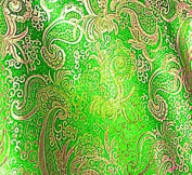 Neon Green/gold Paisley Metallic Brocade Fabric 110cm By the Yard
