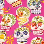 pink Alexander Henry fabric with decorated skulls