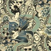 grey Alexander Henry fabric Japanese woman and skulls