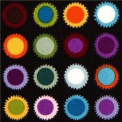 black cog wheel dot fabric by Alexander Henry