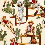 Cowboy Pin up women fabric by Alexander Henry
