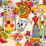 beige Alexander Henry fabric with skeletons and skulls