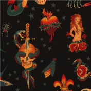 black Alexander Henry fabric with tattoo paintings