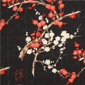 black Alexander Henry Japanese flower fabric with gold