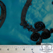 150cm Brown on Turquoise Embroidered Spiral Floral Ribbon Taffeta by the Yard
