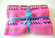 Mexican Fabric, Tribal Fabric By the Yard, Aztec Fabric, Hot Pink fabric from Mexico