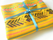Mexican Fabric, Tribal Fabric By the Yard, Aztec Fabric, Mustard Yellow Fabric
