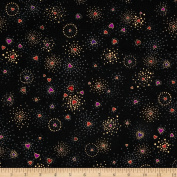 Laurel Burch Basics Hearts Black Metallic Fabric