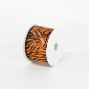 Zebra Stripe Brown Metallic Nylon Ribbon 6.4cm X 10 Yards