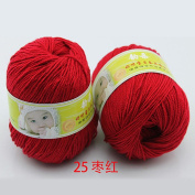 Joylive Smooth Worsted Super Soft Natural Silk Wool Fibre Baby Yarn Skein Lot 50g Purplish Red
