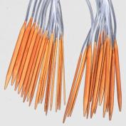 Ostart 18 Pairs 32'' (80cm) Circular Carbonised Bamboo Knitting Kits Needles Set