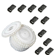 2013newestseller 480pcs White Round Pearl Straight Head Pins+30pcs Black Contoured Side Release Plastic Buckles DIY Sets