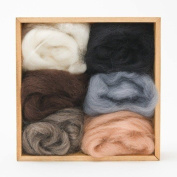 Multi-colour Wool Roving Pack - Neutral