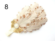 JY Jewellery beige Children Girls Feather Flower Crystal Hair Band Elastic Headband H7-7