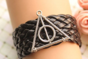 Harry Potter Bracelet,retro Silver Deathly Hallows,black Braid Leather Bracelet