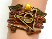Harry Potter Inspired Bracelet, Golden Snitch, Brass Deathly Hallows, and Portkey Charm with Brown Wax Cord and Leather Braid Bracelet