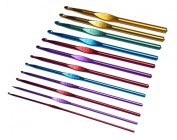 HotEnergy 12 Sizes Multi-colour Aluminium Crochet Hooks Knitting Kits Needles USA ship