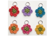 Lantern Moon Set of 6 Crocheted Flower Knitting Stitch Markers