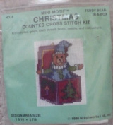 Teddy Bear-In-A-Box - Mini Motif Christmas Counted Cross Stitch Kit - #8
