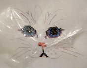 CAT'S FACE COUNTED CROSS STITCH KIT - WEARABLES CLOTHING DESIGN