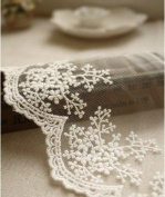 White Embroidery Lace Trim Lace Cotton Embroidery 1Yard 11cm Wide
