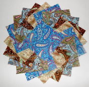 40 13cm Beautiful Blue/brown Perfect Paisley Charm Pack