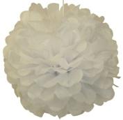 Tissue Pom Pom Paper Flower Ball 25cm White - Just Artefacts Brand