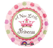 A NEW LITTLE PRINCESS Pink Green Crown Polka Dots Large 46cm ROUND Mylar Foil Balloon - Baby SHOWER Shower