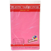 Party Dimensions Round Plastic Tablecover, 210cm , Hot Pink