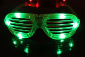LED Clear Flashing Light up Glasses Slotted Shutter Shades New Green